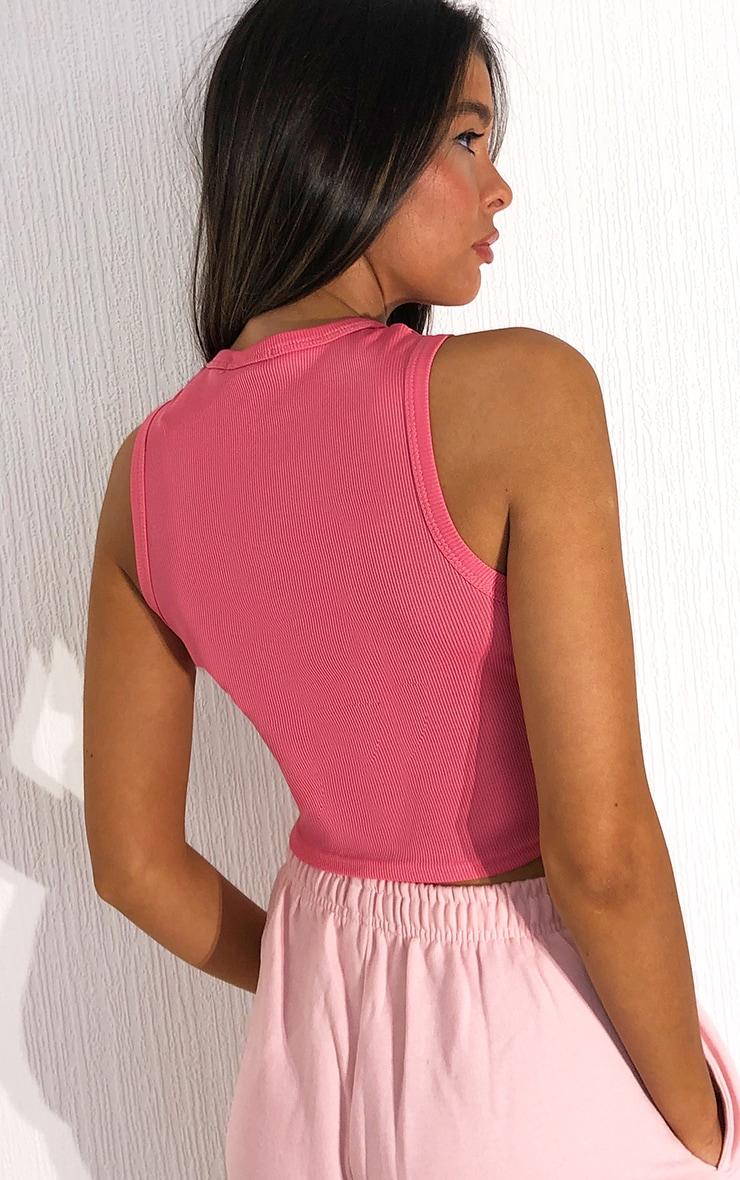 Candy Pink Rib Racer Neck Vest 2