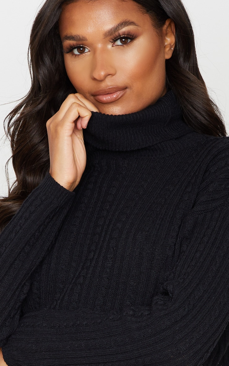 Black Roll Neck Cable Knit Cropped Sweater 5