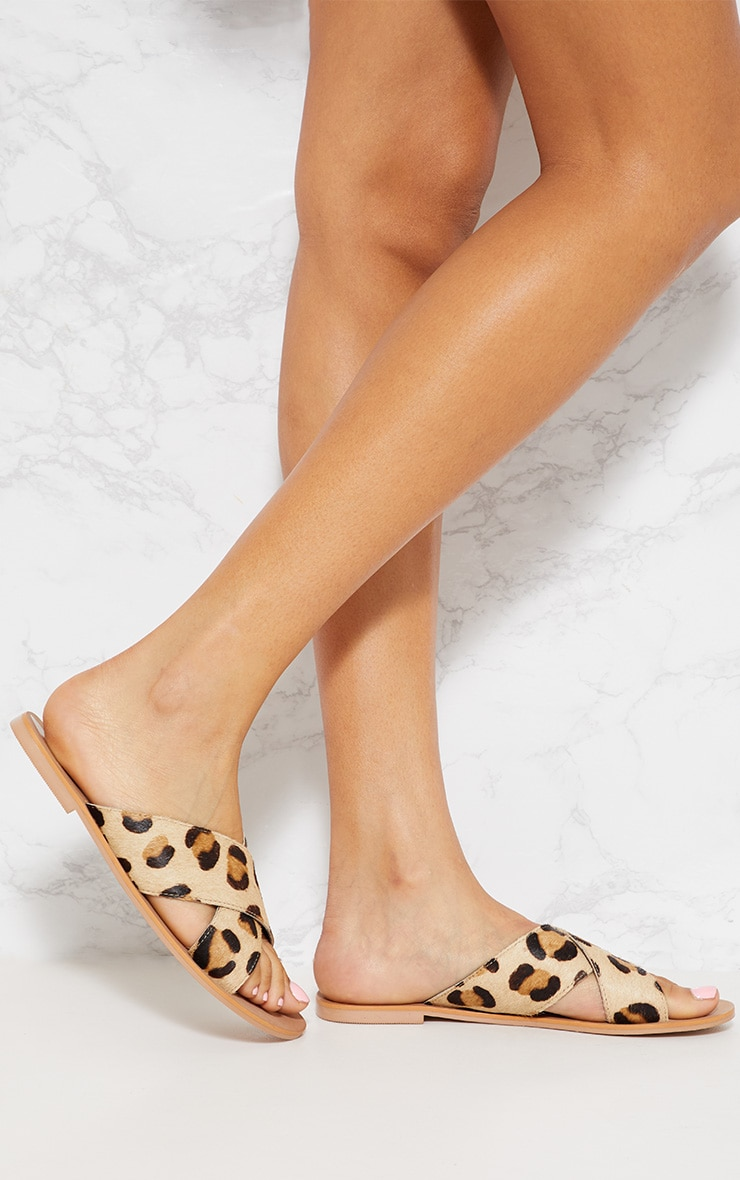 Leopard Leather Cross Strap Sandal 2