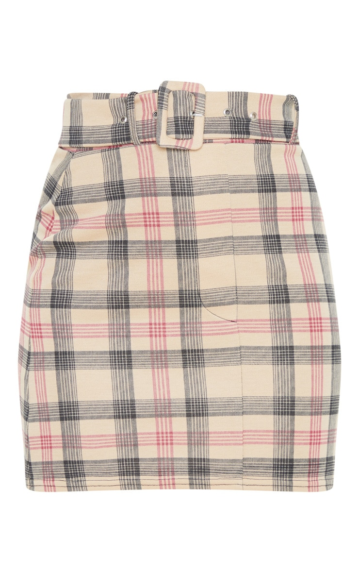 Stone Check Belted Mini Skirt 3