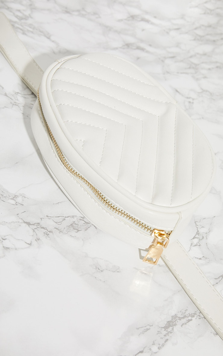White Chevron Quilted Bum Bag 5