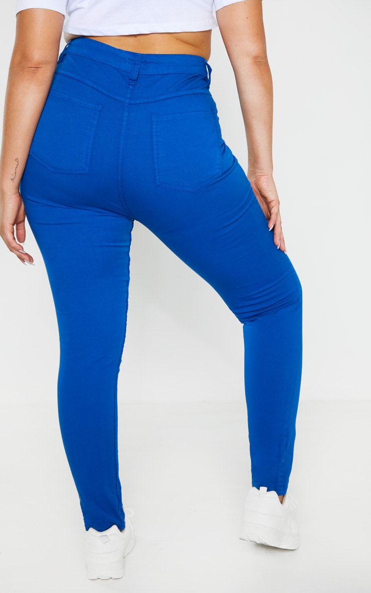 Plus Bright Blue High Waisted Skinny Jean 4