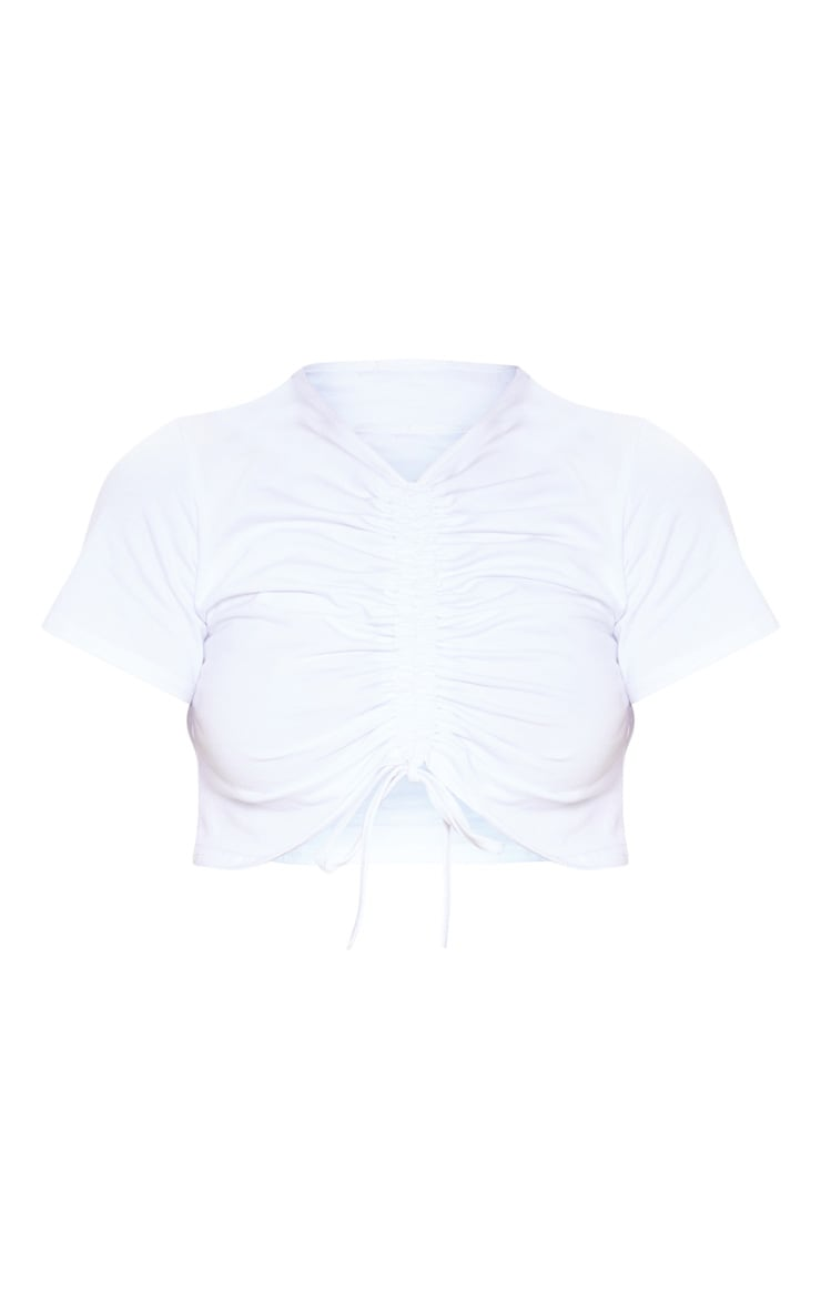 White Cotton Ruched Front T Shirt 3