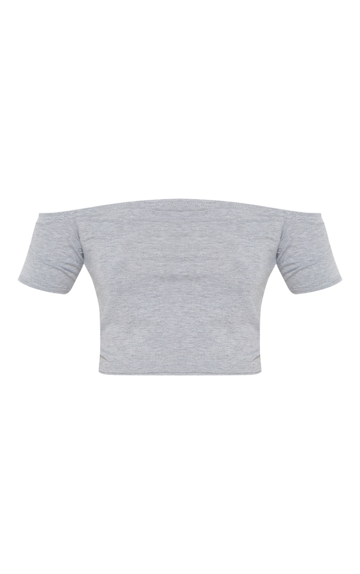Grey Basic Bardot Crop Top 3