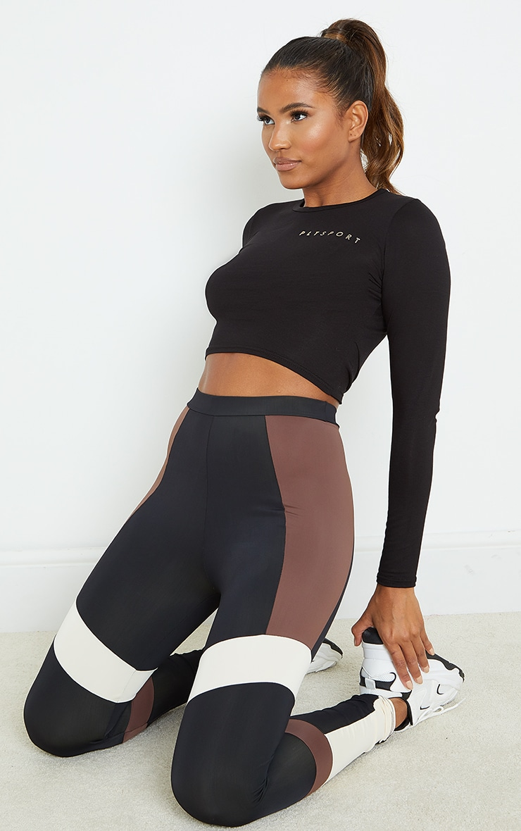 Brown Mono Panel Gym Leggings 1