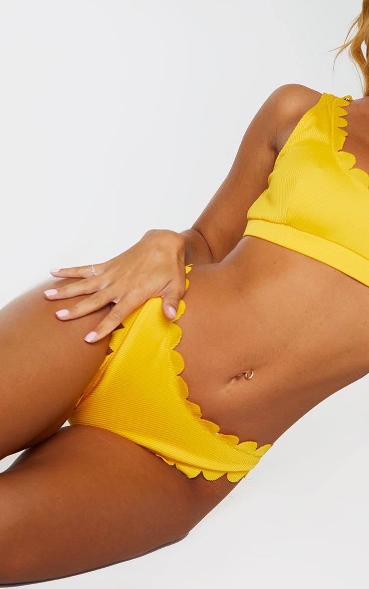 Yellow Ribbed Scalloped High Leg Bikini Bottoms 5