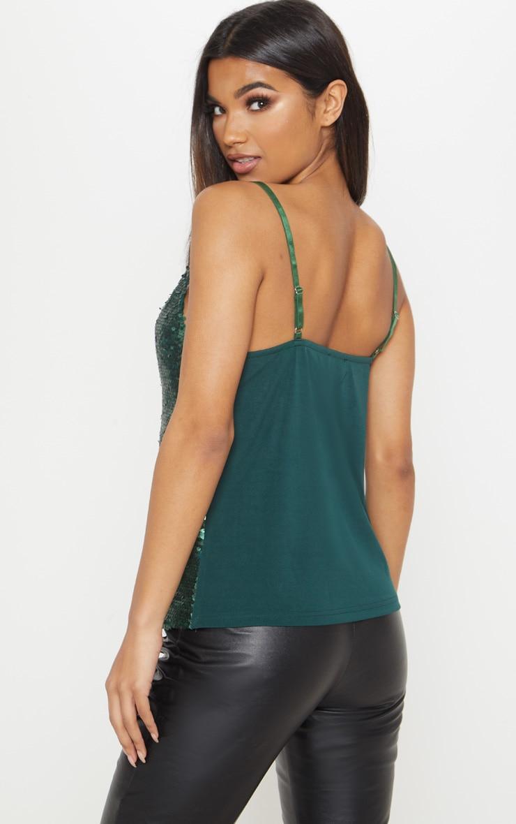 Emerald Sequin Front Cami Top 2