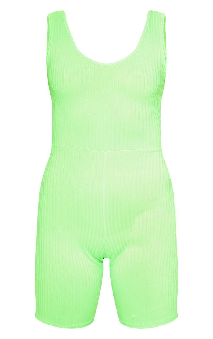 Combishort moulant vert citron fluo côtelé à col rond 3