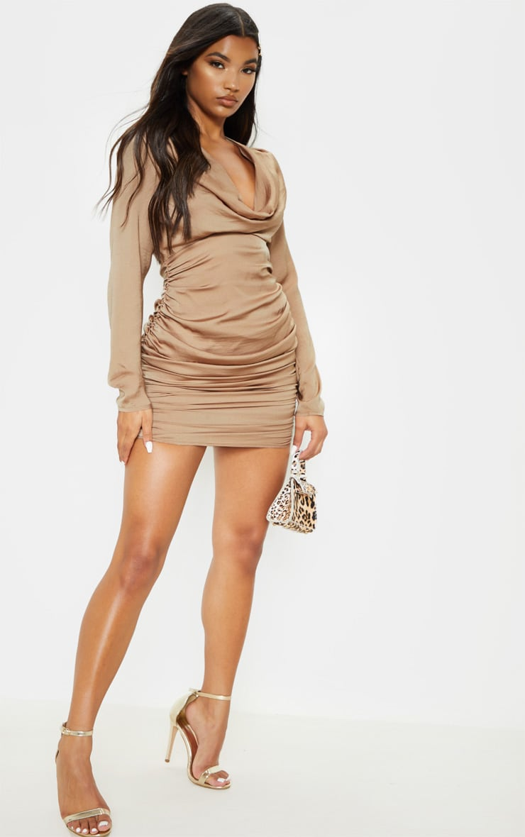 Taupe Satin Shoulder Pad Cowl Neck Ruched Bodycon Dress