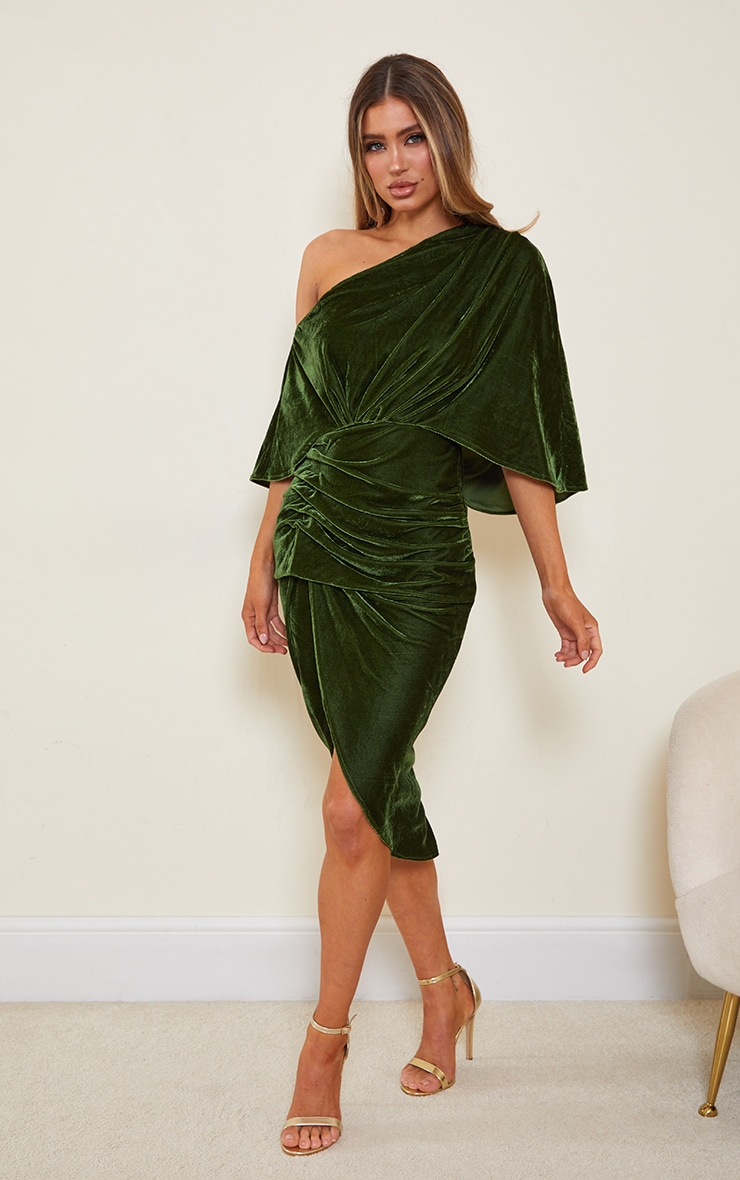 Olive Velvet Off Shoulder Drape Midi Dress 3