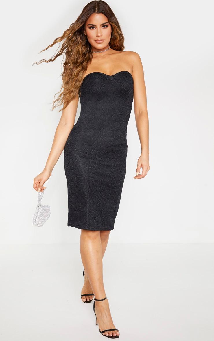 Tall Black Corset Glitter Midi Dress 3