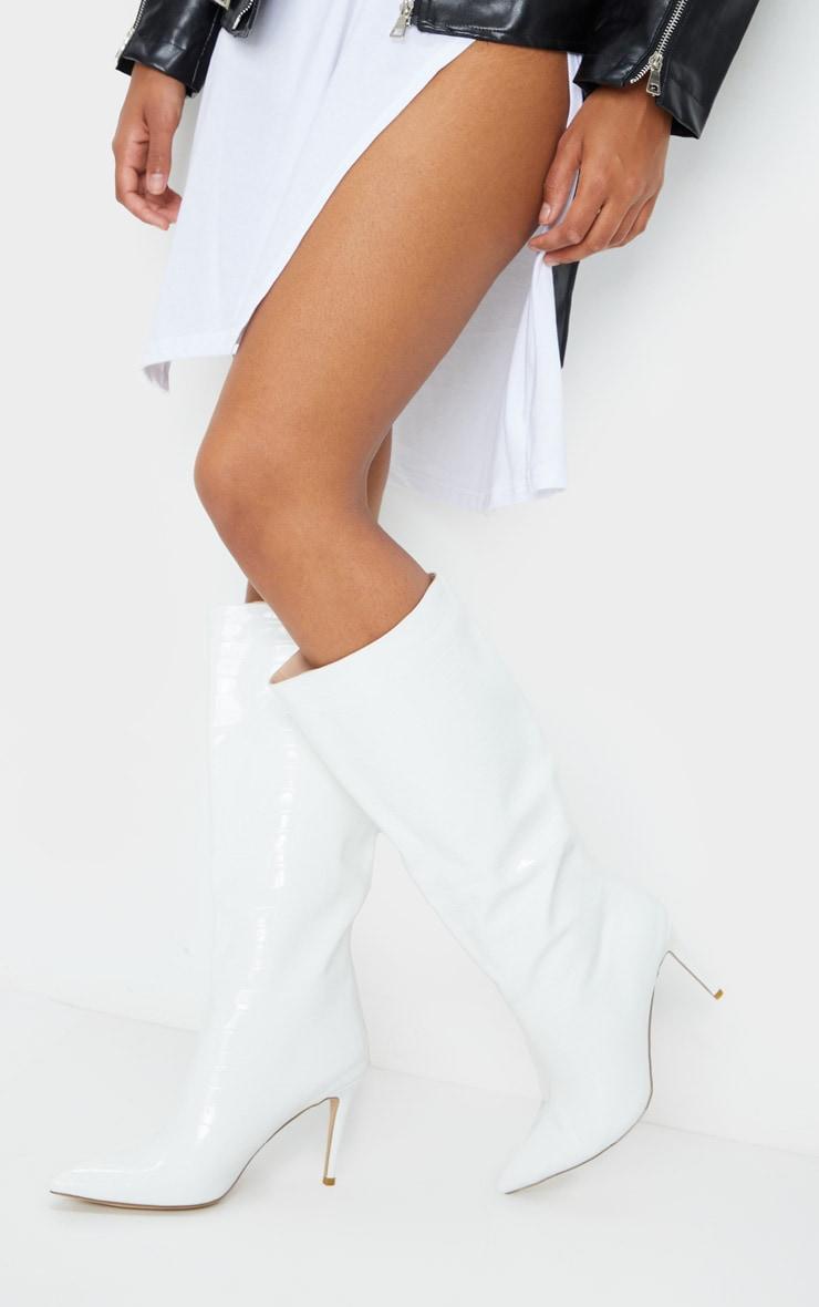 White Croc Calf Boots 1