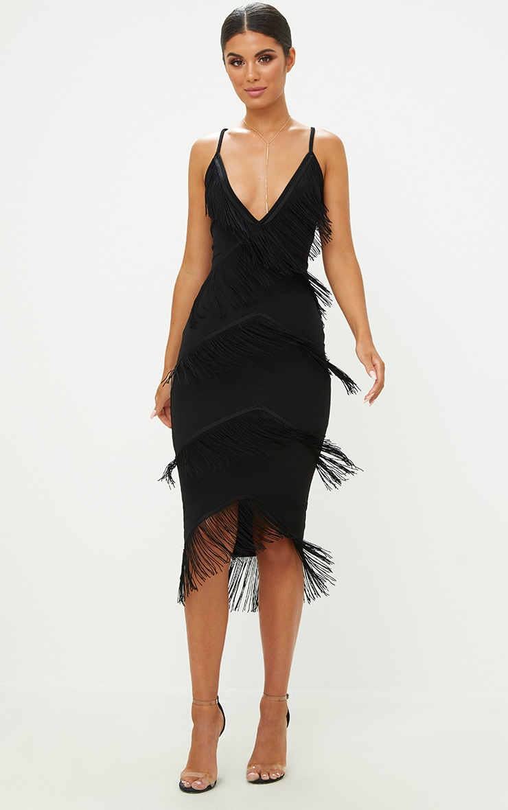 Black Strappy Tassel Longline Midi Dress Dresses