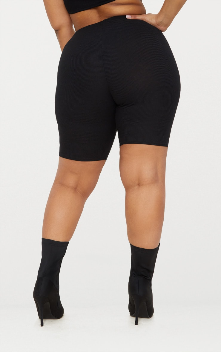Plus Black Ribbed Bike Shorts 4