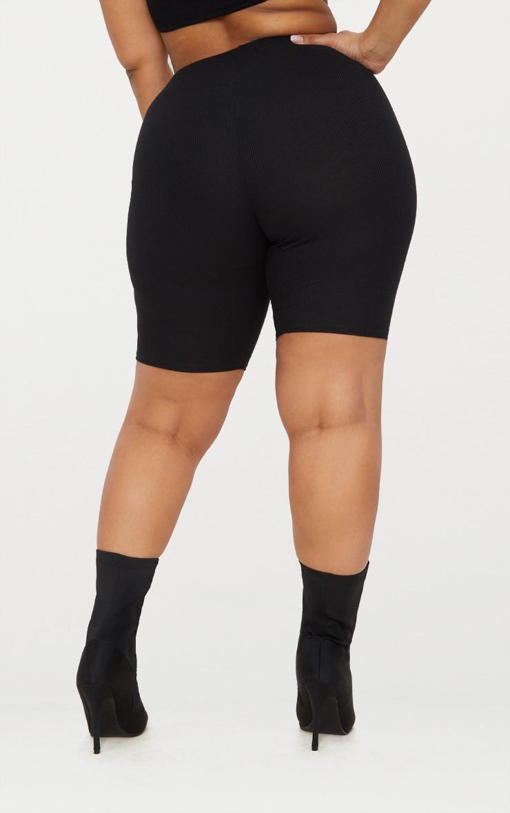 Plus Black Ribbed Cycling Shorts 4