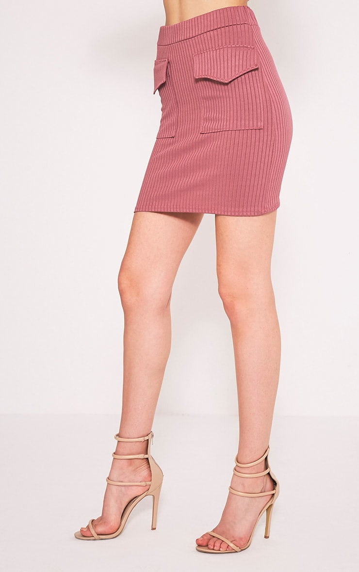 Esta Rose Pocket Ribbed Mini Skirt 3