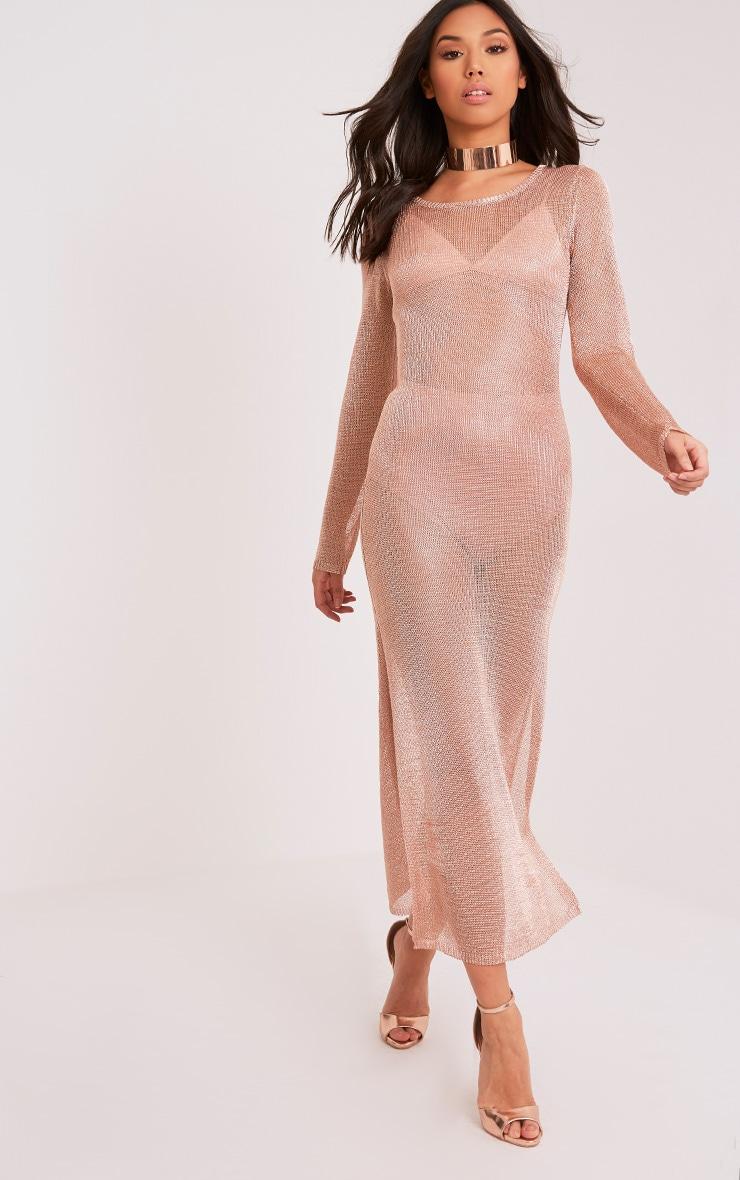 Jacomina robe midi or rose métallisé à double fente 4
