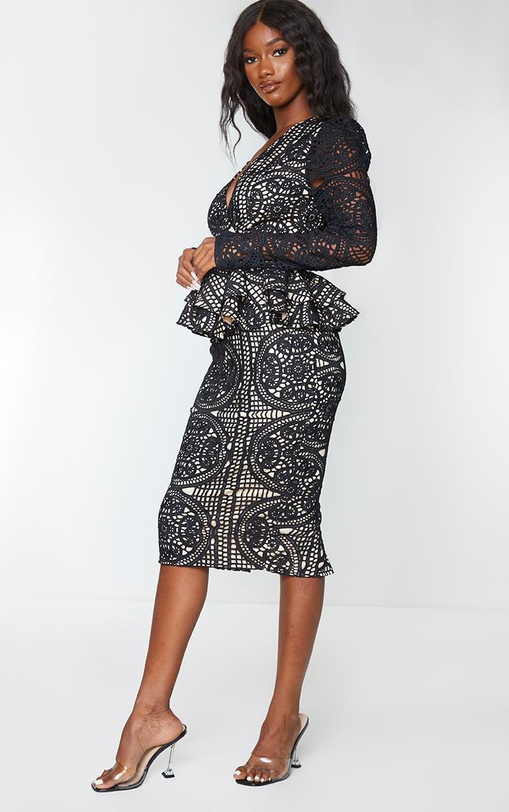 Black Lace Plunge Peplum Frill Midi Dress 3