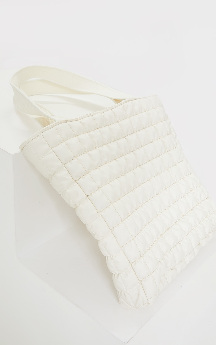 Cream Square Quilted Tote Bag 3