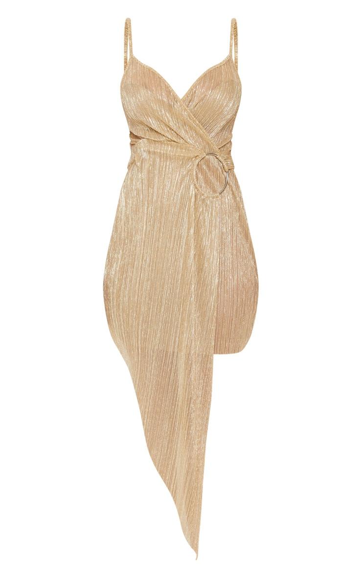 Gold Metallic Plisse Ring Detail Drape Bodycon Dress 3