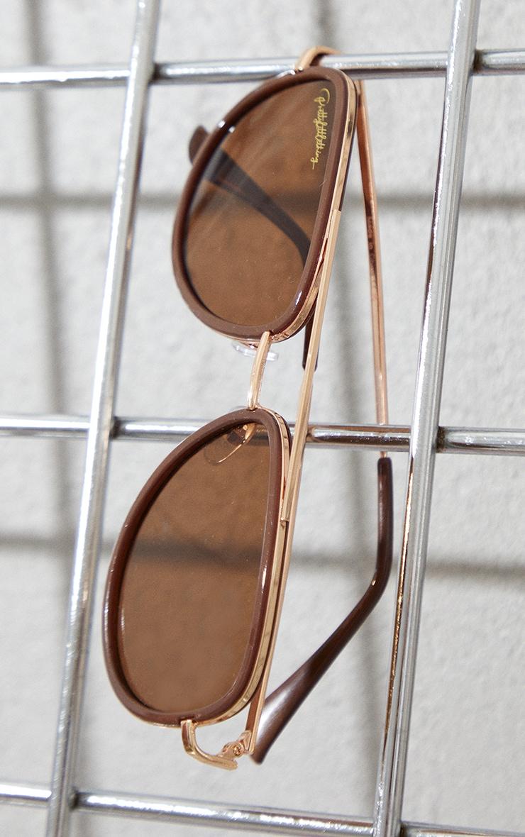 PRETTYLITTLETHING Brown Oversized Brown Lens Aviator Sunglasses 3