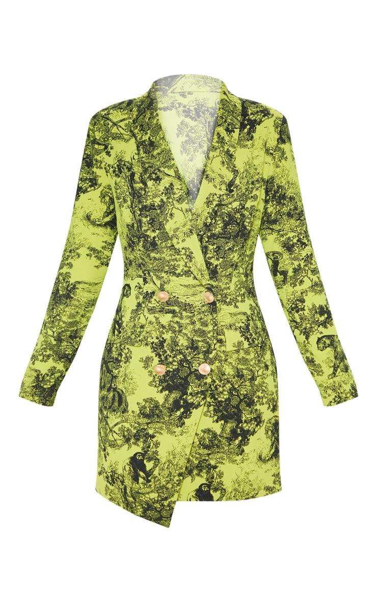 Lime Tiger Jungle Print Black Button Blazer Dress 3