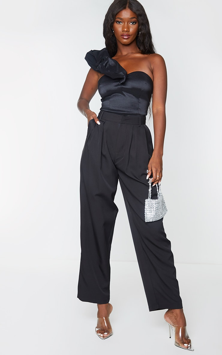 Black Woven Extreme Puff One Shoulder Long Top 3