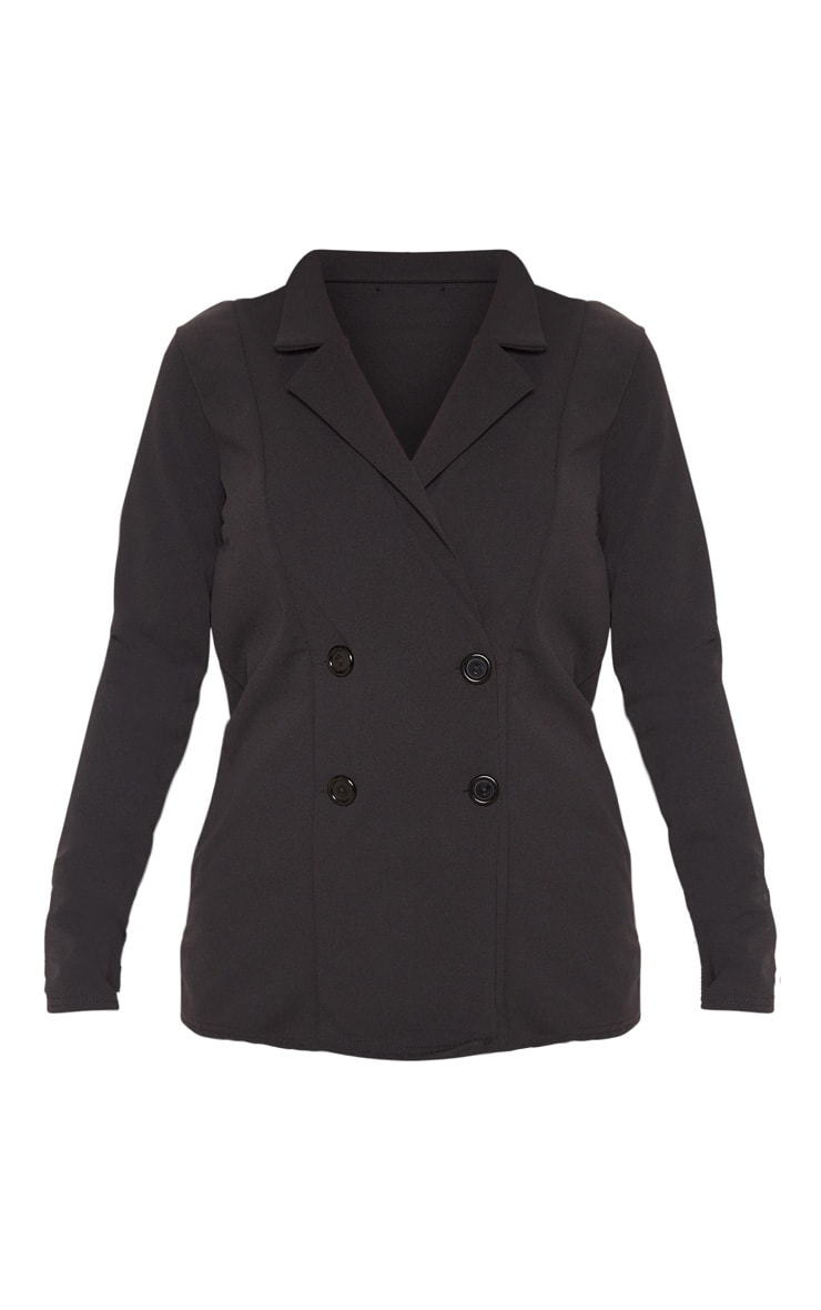 Black Double Breasted Button Suit Jacket 3