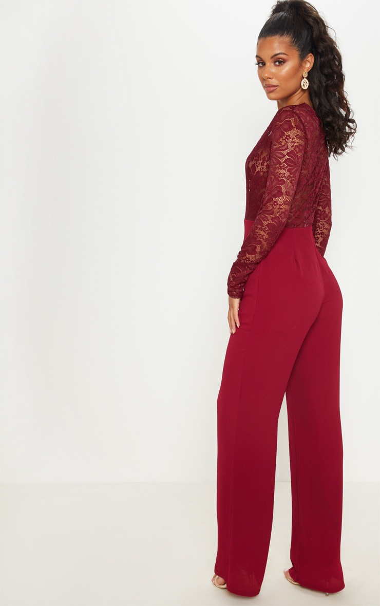Burgundy Lace Long Sleeve Plunge Jumpsuit 2
