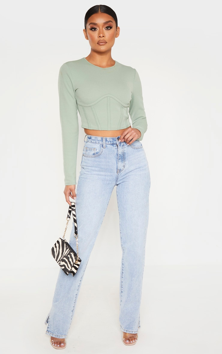 Sage Crepe Structured Underbust Crop Top 4