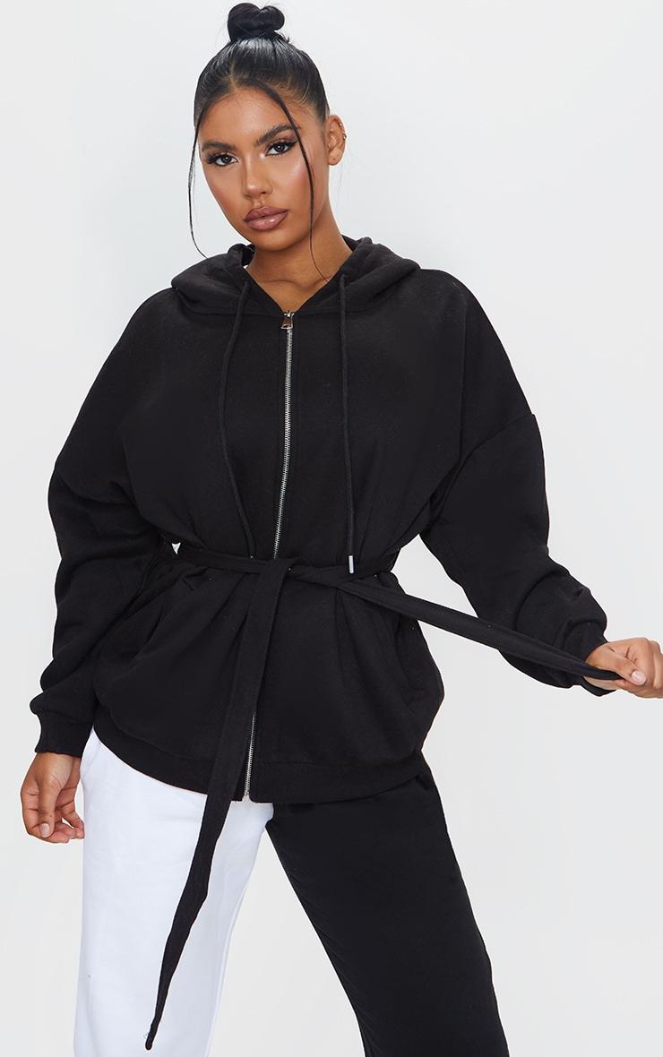 Black Oversized Longline Zip Belted Hoodie Jacket 1