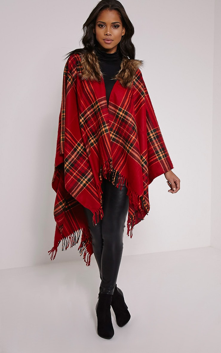 Stacey Red Tartan Fur Collar Shawl 1