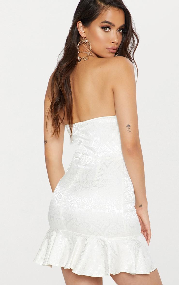 White Jacquard Bandeau Frill Hem Bodycon Dress 2