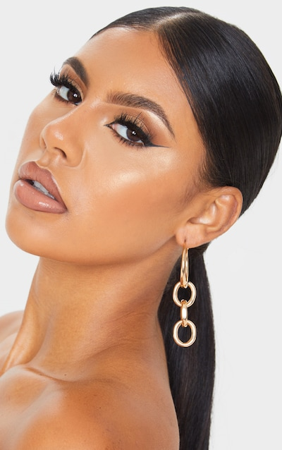 Gold Chain Drop Hoop Earrings