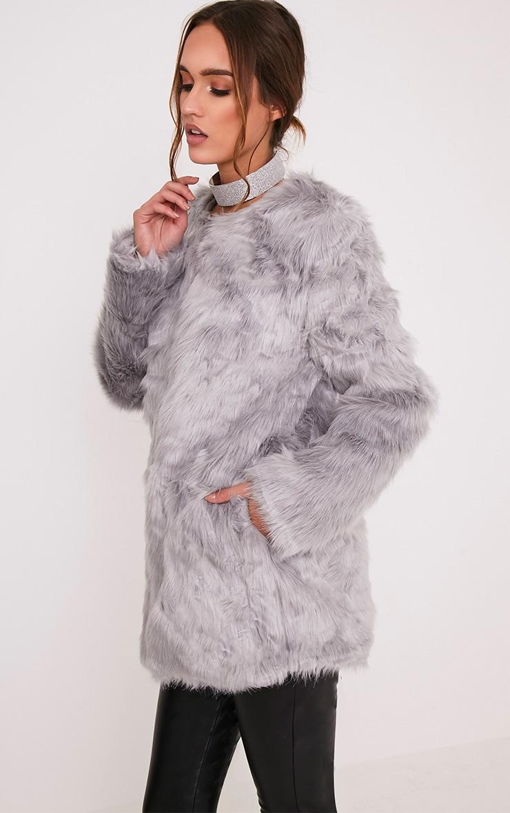 Florencia manteau en fausse fourrure gris 4