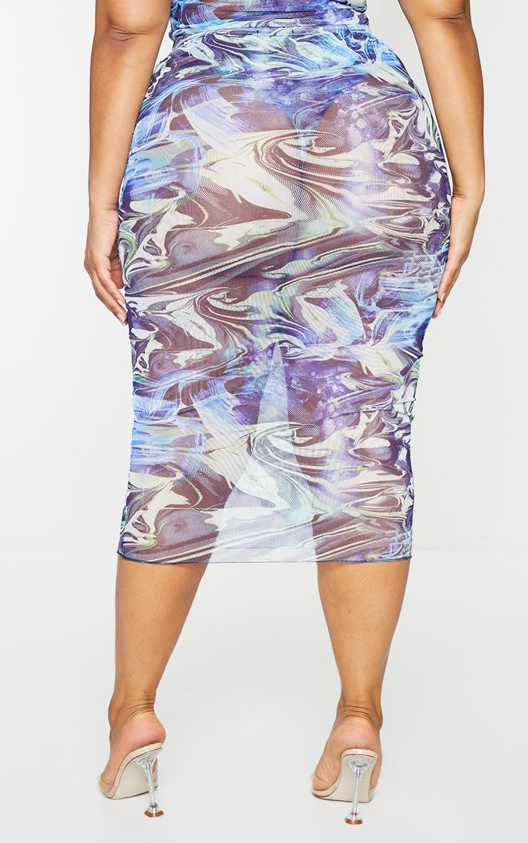 Plus Blue Marble Print Mesh Bodycon Midi Skirt 3
