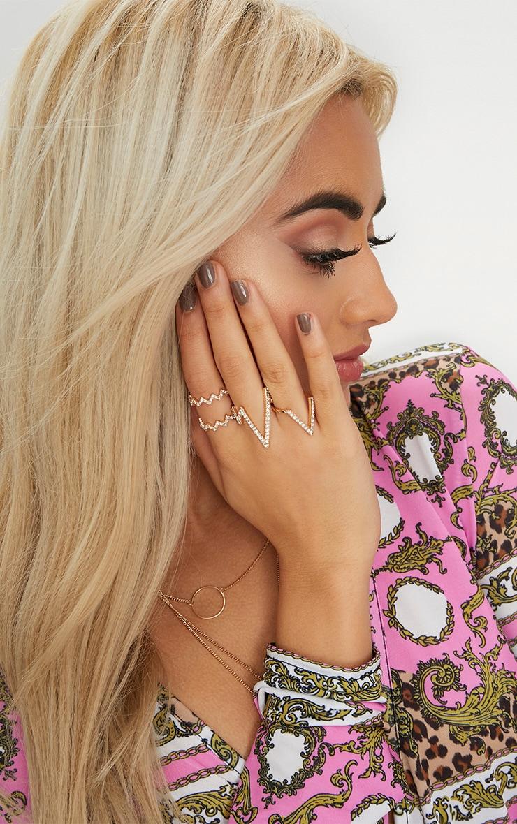 Gold Zig Zag Diamante Ring Pack 1