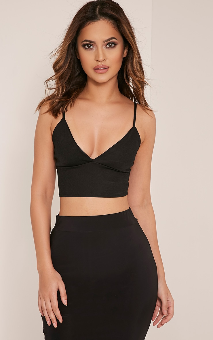 Zolee Black Crepe Triangle Bralet 1