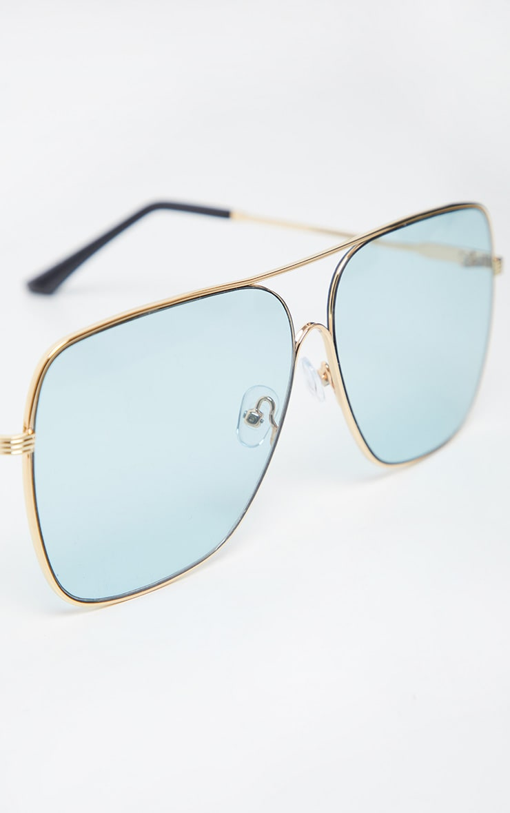 Blue Lens Metal Frame Retro Aviator Glasses 4