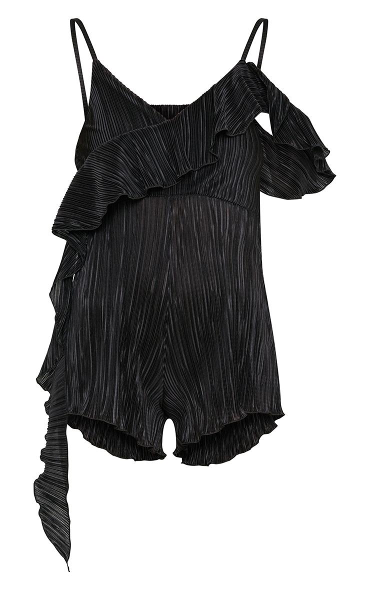 Black Frill Sleeve Pleated Playsuit 3