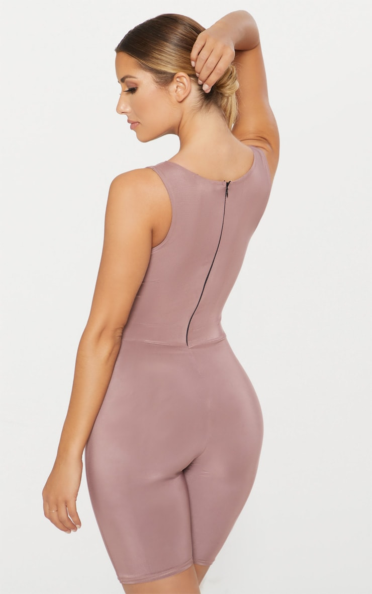 Dark Mauve Second Skin Slinky Racer Neck Unitard 2