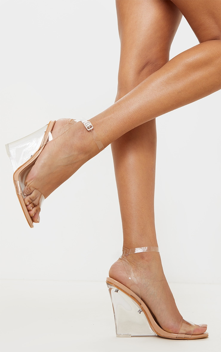 Nude Clear Wedge Strappy Sandal 2