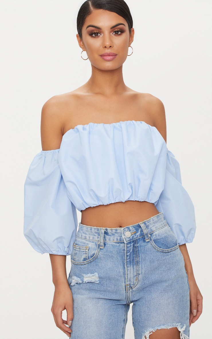 Light Blue Puff Hem Bardot Crop Top  1