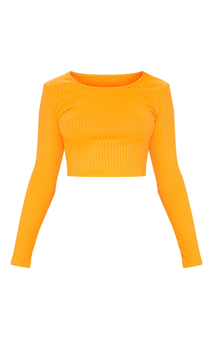 Neon Orange Scoop Neck Long Sleeve Crop Top 3