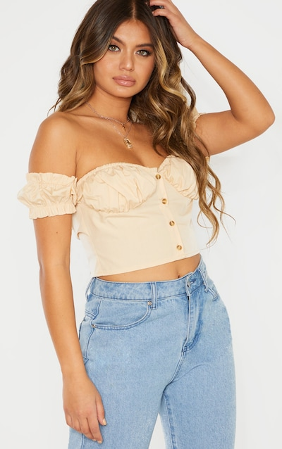 Stone Ruched Cup Button Up Short Sleeve Crop Top