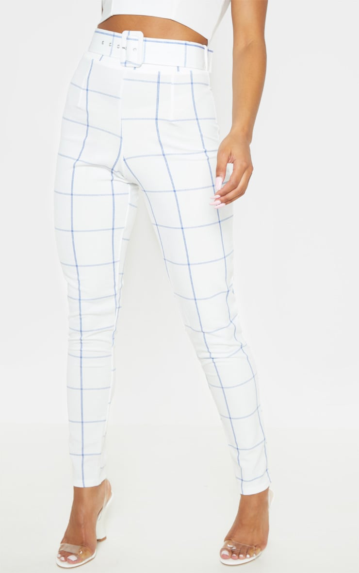 White-Navy Check Belted Waist Skinny Pants 2