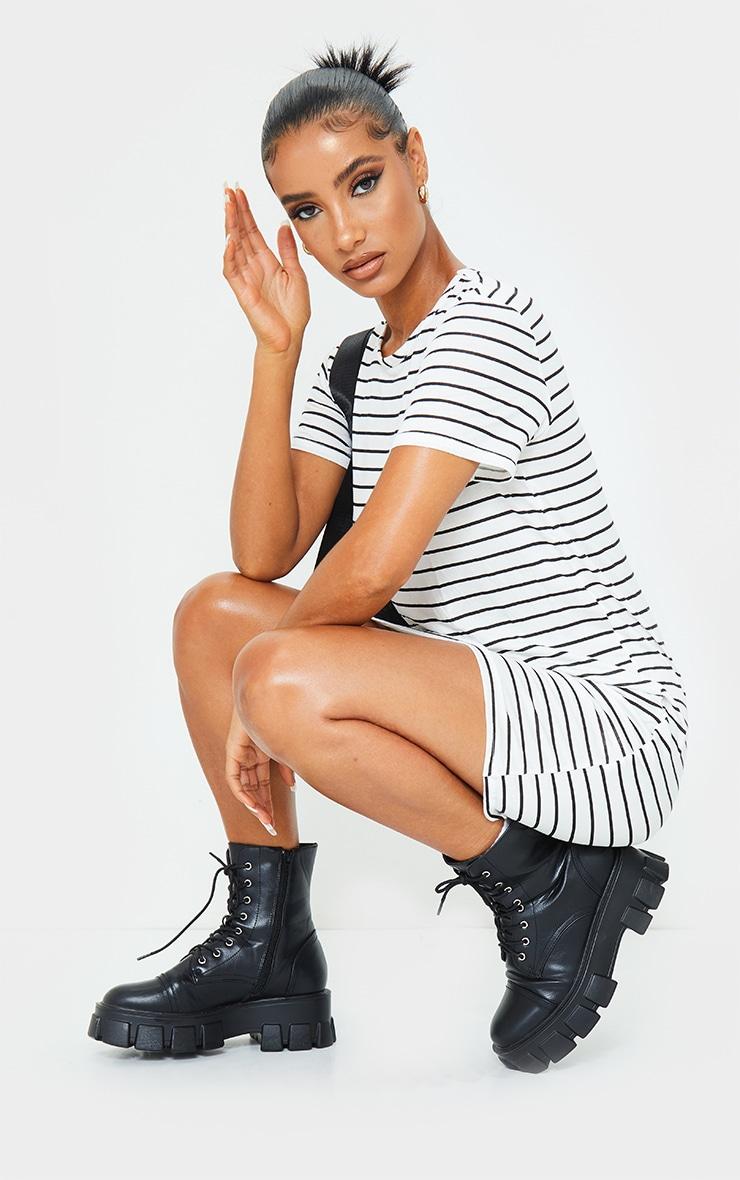 White and Black Striped Basic Short Sleeve Round Neck T Shirt Dress 3