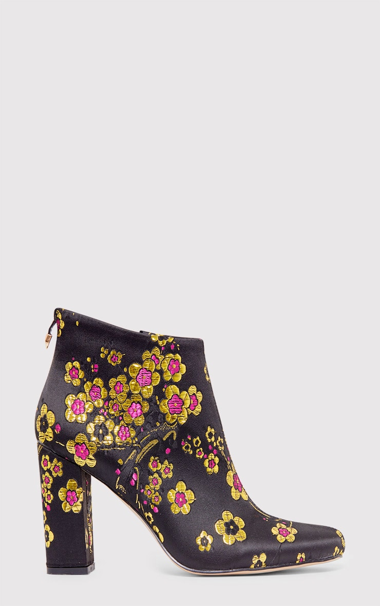 Mel Black Cherry Blossom Embroidered Ankle Boots 1