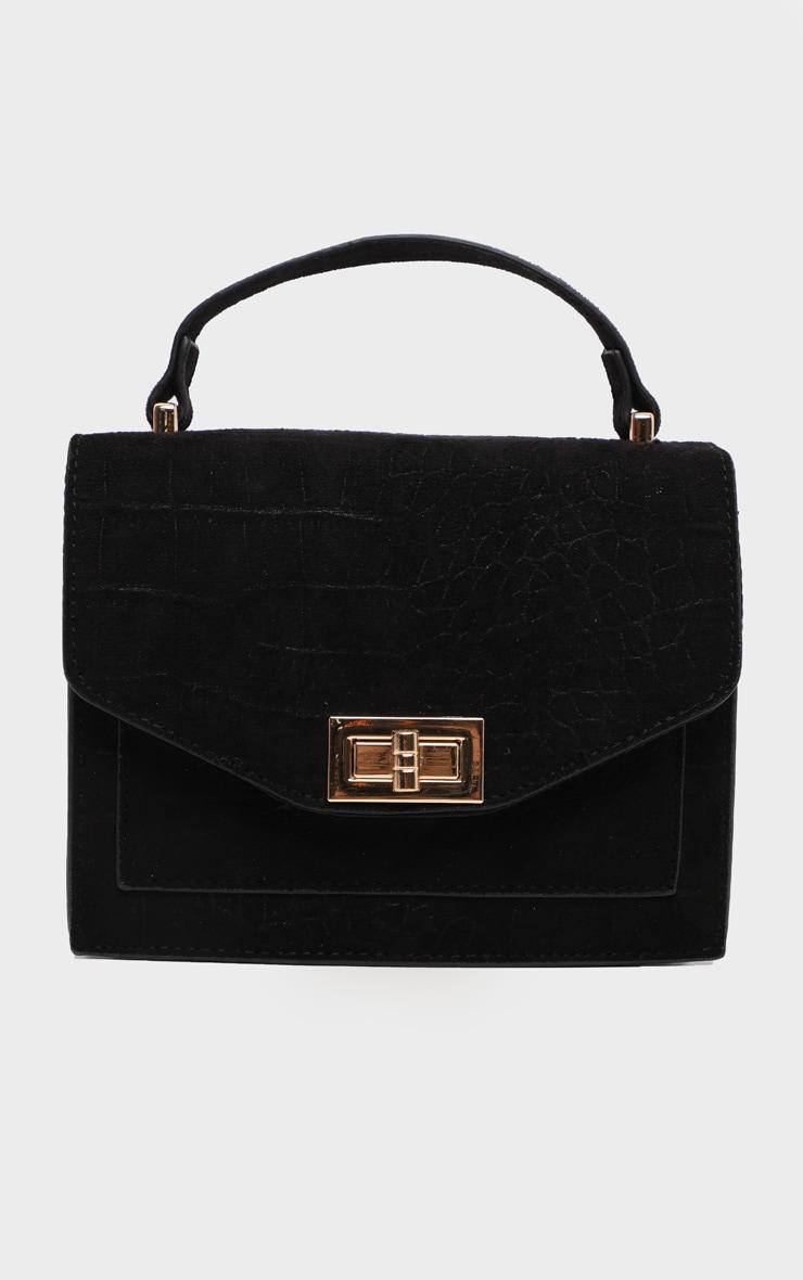 Black Croc Embossed Box Cross Body Bag 4