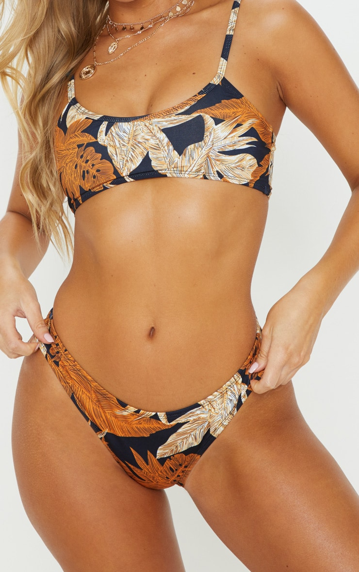 Black Palm Leaf Print High Leg Bikini Bottom 1